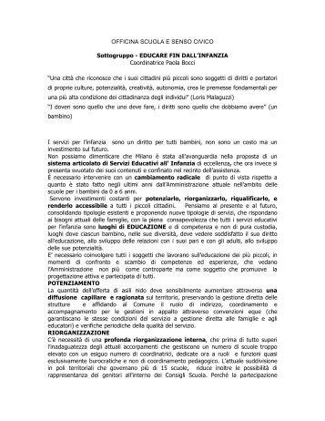 EDUCARE FIN DALL'INFANZIA Coordinatrice Paola Bocci