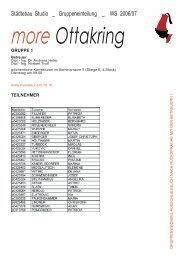 Städtebau Studio _ Gruppeneinteilung _ WS 2006/07