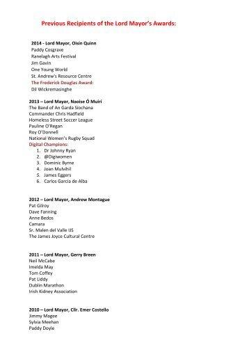 LM Awards - Previous Recipients 89-2014