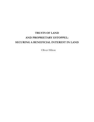 TRUSTS OF LAND AND PROPRIETARY ESTOPPEL ... - Support