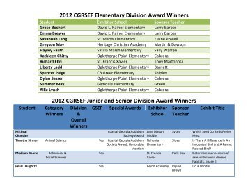 2012 CGRSEF Elementary Division Award Winners - The College of ...