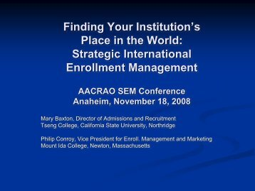 Finding Your Institution's Place in the World: Strategic ... - AACRAO