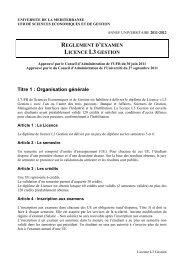 REGLEMENT D'EXAMEN LICENCE L3 GESTION Titre 1 - Faculté d ...