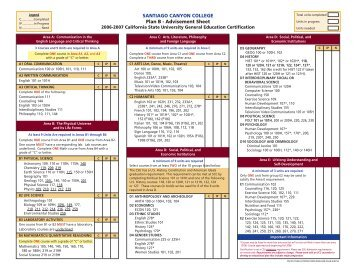 SANTIAGO CANYON COLLEGE Plan B - Advisement Sheet