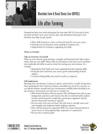 Life after Farming - Manitoba Farm & Rural Support Servic