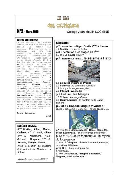 SOMMAIRE p.7 Culture : les Mangas p.9 et 10 Espace langue ...
