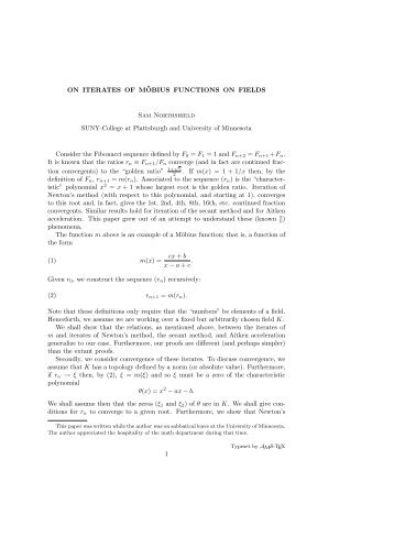 On Iterates of Moebius transformations on fields - Faculty web pages