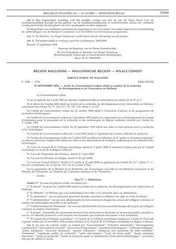 region wallonne - Interface Entreprises-Université
