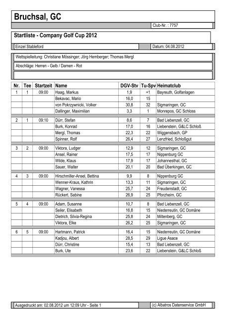 Startliste - Company Golf Cup 2012 - SG Stern Rastatt