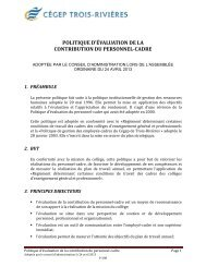 politique d'évaluation de la contribution du personnel-cadre
