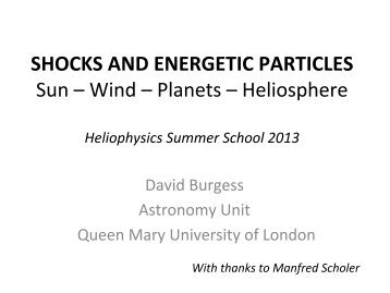 SHOCKS AND ENERGETIC PARTICLES Sun – Wind – Planets ...