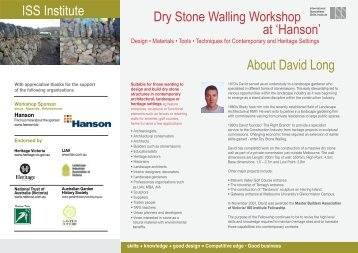 ISS Institute Dry Stone Walling Workshop at - International ...