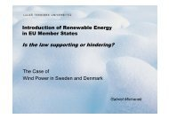 Different legal preconditions for introduction of renewables in EU ...