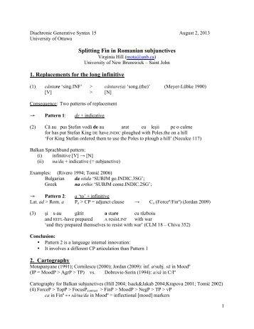 Splitting Fin in Romanian subjunctives 1. Replacements ... - ArtSites