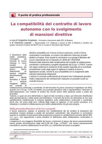 La compatibilità del contratto di lavoro autonomo con lo svolgimento ...