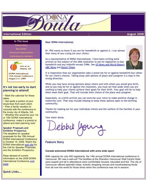 International Edition August 2008 - DONA International