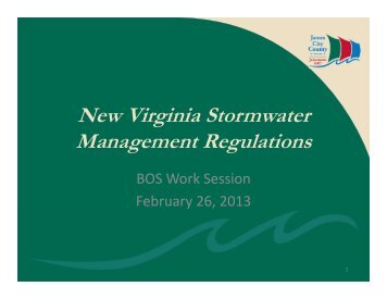 New Virginia Stormwater Management Regulations - James City ...