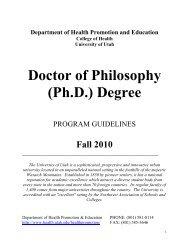 PhD Guidelines - College of Health - University of Utah