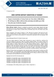 NEW COPPER DEPOSIT IDENTIFIED AT ROSEBY - Altona Mining