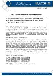 NEW COPPER DEPOSIT IDENTIFIED AT ROSEBY - Altona Mining