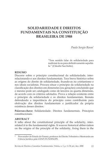 Solidariedade e direitos fundamentais na Constituição ... - FDV