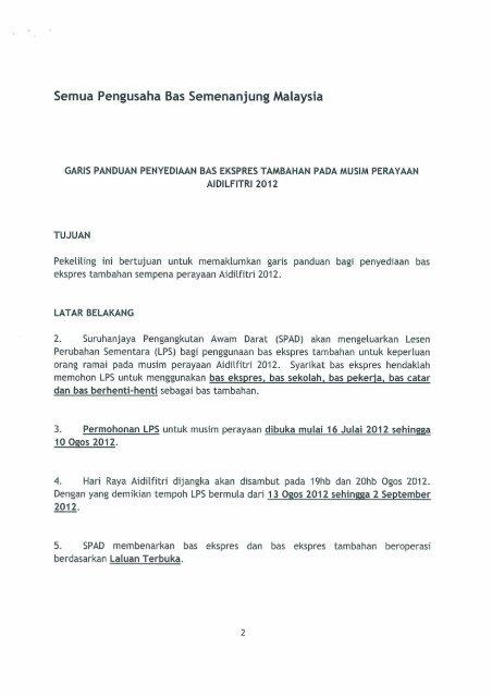 Garis Panduan Penyediaan Bas Ekspress Tambahan Pada ... - SPAD