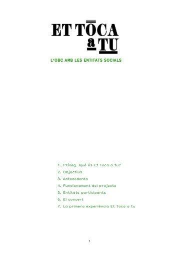 Dossier del projecte Et toca a tu 2013 - L'Auditori