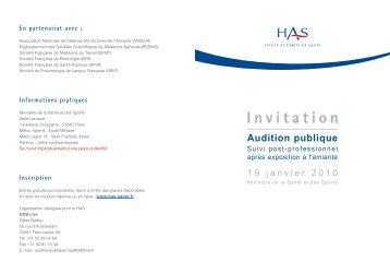 Invitation Audition publique - Evenium