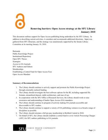 Removing barriers: Open Access strategy at the SFU Library ...