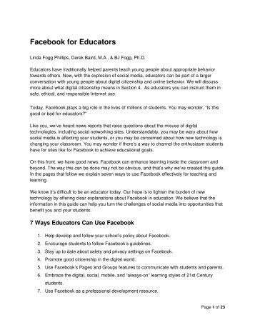 Facebook for Educators - Internet Safety Wiki