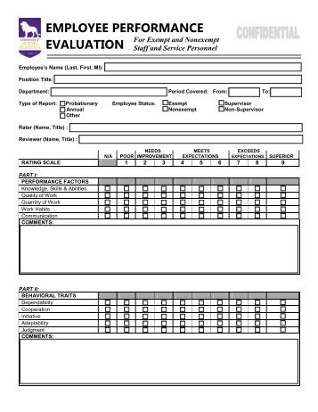 Staff Performance Evaluation Form PrePdf