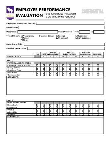Employee Performance Evaluation Form  Performance Evaluation Templates