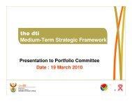 Medium-Term Strategic Framework - Department of Trade and Industry