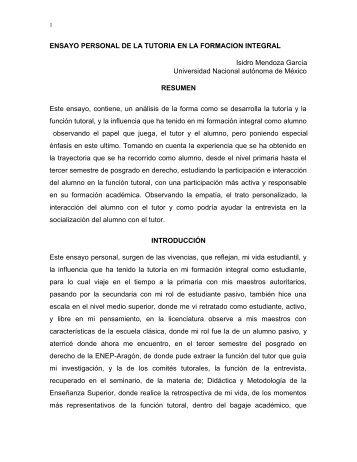 ENSAYO PERSONAL DE LA TUTORIA EN LA FORMACION ...