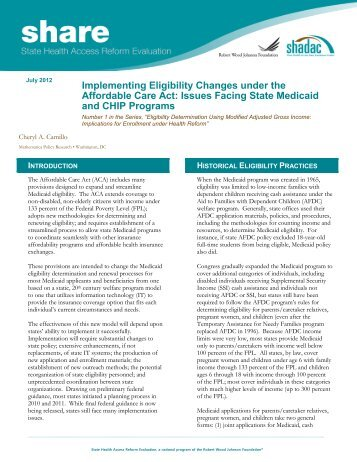 Implementing Eligibility Changes under the Affordable ... - Shadac