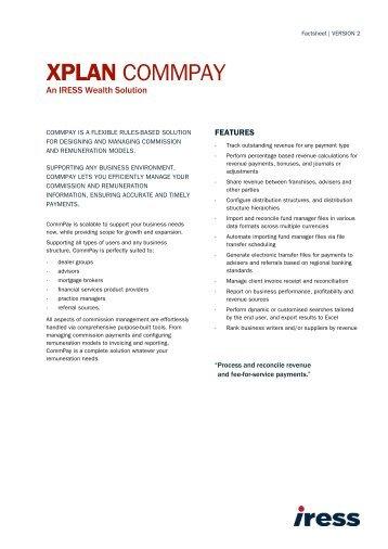 XPLAN CommPay Factsheet - IRESS New Zealand