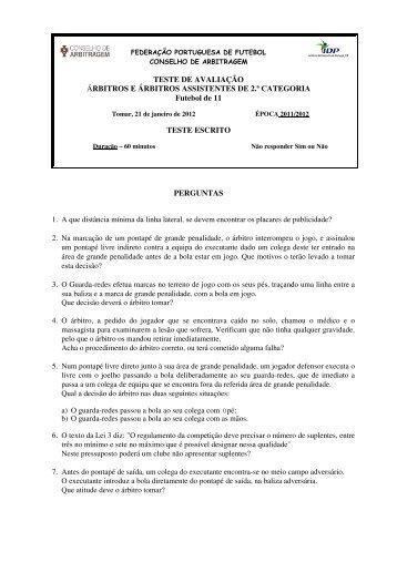 TESTE DE AVALIAÇÃO ÁRBITROS E ÁRBITROS ASSISTENTES ...