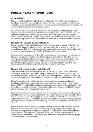 PUBLIC HEALTH REPORT 2007