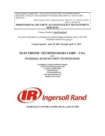 ELECTRONIC TECHNOLOGIES CORP – USA. - Security ...