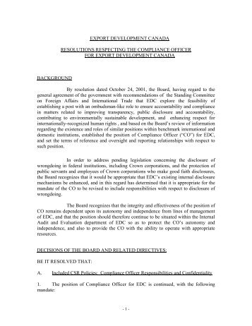 Resolutions Respecting The Compliance Officer For Export ... - EDC