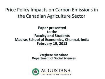 Price Policy Impacts on Carbon Emissions in the Canadian ...
