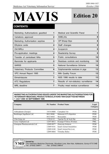 MAVIS - Edition 20 - October 1996 - Veterinary Medicines Directorate