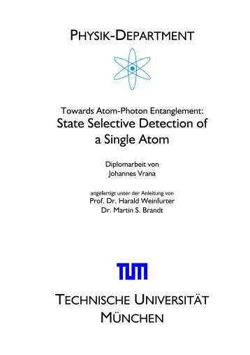 State Selective Detection of a Single Atom - Experimental Quantum ...