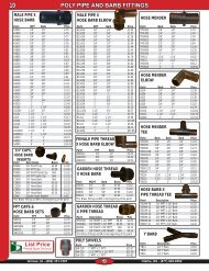 POLY PIPE AND BARB FITTINGS List Price
