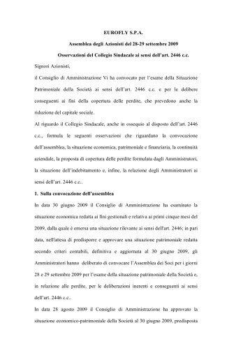 Documenti per assemblea 28/29 settembre 2009 - Meridiana