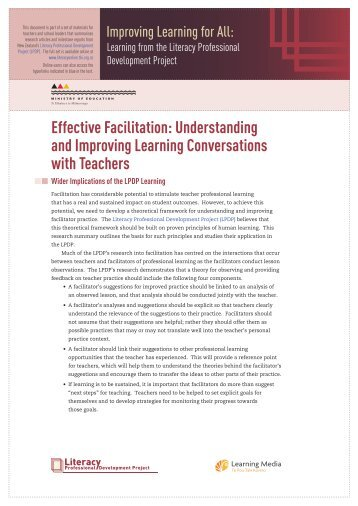 Effective Facilitation: Understanding and Improving ... - Literacy Online