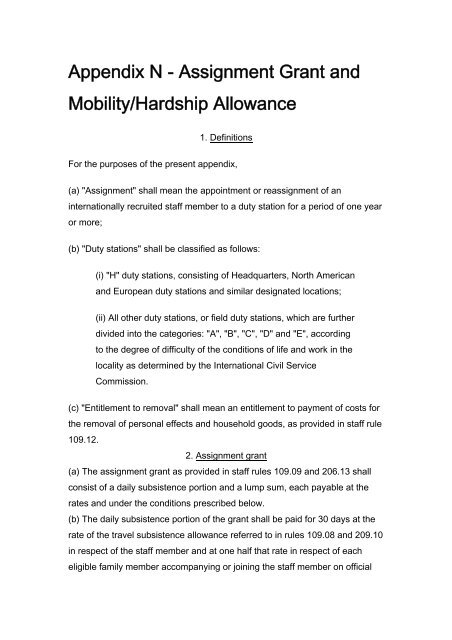 Assignment Grant and Mobility/Hardship Allowance - unido