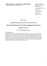 Ph d. course National Research School on Welfare State and ...