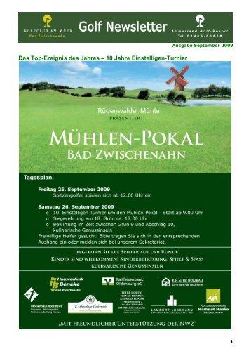 Newsletter September 2009 - Golfclub am Meer - Bad Zwischenahn