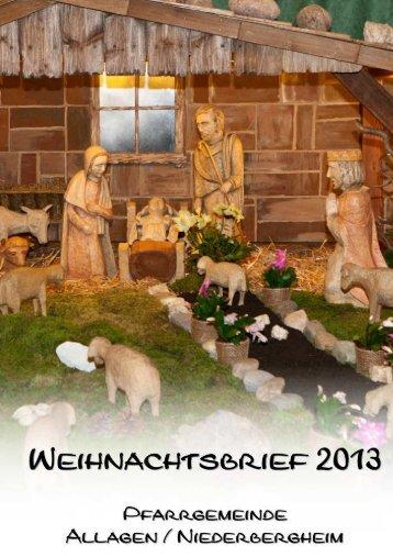 Weihnachtsbrief der Kirchengemeinde Allagen/Niederbergheim